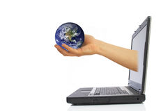 Globe from laptop royalty free stock photography