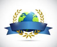 Globe laurel sign illustration design Stock Images
