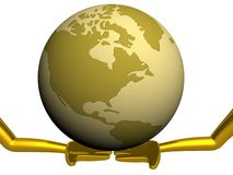 Globe laying on the extended hands. Royalty Free Stock Photography