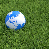 Globe laying in grass Stock Photography