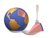Globe laying on a plate with the cut out piece Stock Photos