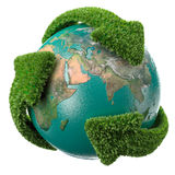 Globe with leaf arrows Stock Photography