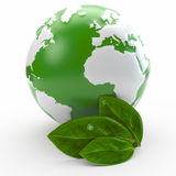 Globe and leaf ecology concept Stock Photos