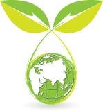 Globe leaf logo Royalty Free Stock Photo
