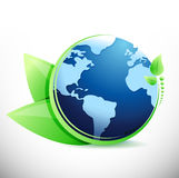 Globe and leaves eco illustration Stock Photo