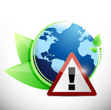 Globe leaves and warning sign illustration design Royalty Free Stock Image