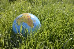 Globe lies on green grass Stock Images