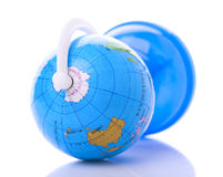 Globe lies on one side, shows Antarctica Royalty Free Stock Image
