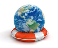 Globe and Lifebuoy (clipping path included) Stock Images