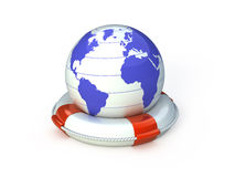 Globe and lifebuoy ring Royalty Free Stock Images
