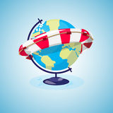 The globe and lifebuoy ring. save the world concept. The end of Stock Images