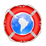 Globe in Lifebuoy. Vector Illustration. Royalty Free Stock Photography