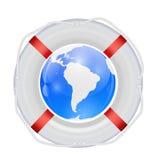 Globe in Lifebuoy. Vector Illustration. royalty free illustration