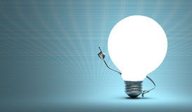 Globe light bulb character in aha moment Royalty Free Stock Photos