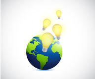 globe and light bulb ideas illustration Royalty Free Stock Photo