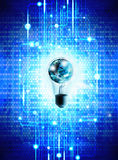 Globe and light bulb with technology background Stock Photography