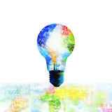 Globe and light bulb with world map painting Royalty Free Stock Photo