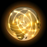 Globe with light traces rotating around. Royalty Free Stock Image