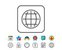 Globe line icon. World or Earth sign. Royalty Free Stock Image