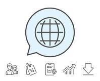 Globe line icon. World or Earth sign. Stock Photography