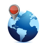Globe and locator. illustration design Stock Photos