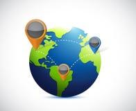 Globe and locator illustration design Royalty Free Stock Image