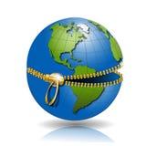 Globe on lock Stock Photo