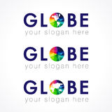 The globe logo. Globe company multi colored logo. Internet technologies, communications, connecting, global mission, geographic or environmental stained glass Royalty Free Stock Images