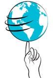 Globe logo. Illustration of globe on finger tip in white background Stock Image