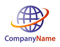 Globe logo. Isolated vector 3D violet  blue earth globe symbol with yellow - orange - red orbit way around with company name lettering on white background. Ideal Royalty Free Stock Photo