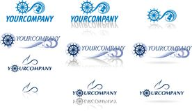 Globe logos for yachting and air travel. Collection of globe logos for yachting and air travel Royalty Free Stock Image