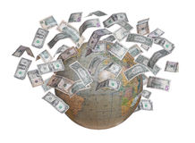 Globe with lot of money in orbit Stock Image