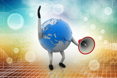 Globe with loudspeaker Royalty Free Stock Photo
