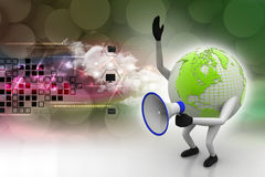 Globe with loudspeaker Stock Photography