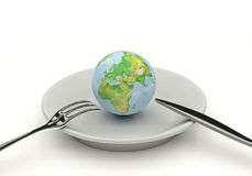 Globe on lunch Stock Photo