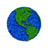 Globe made from leaves, green eco earth. Ecology planet with with leaves around. eco earth. Eco globe, eco planet Stock Image
