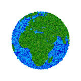 Globe made from leaves, green eco earth. Ecology planet with with leaves around. eco earth. Eco globe, eco planet Stock Images