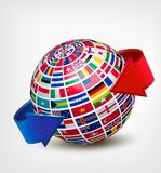 Globe made out of flags with two arrows. Stock Image