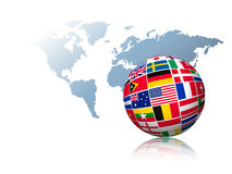 Globe made out of flags on a world map background. Stock Images