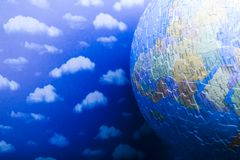 Globe made from puzzle. Blue planet earth from puzzle Royalty Free Stock Image
