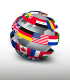 Globe made of a strip of flags. Stock Images