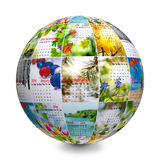 The globe made up of photographs with calendar Stock Photo