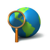 Globe with magnifying glass. On white background Stock Photos