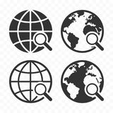 Globe with magnifying glass icon set. Planet earth and magnifier. Search concept icons stock illustration