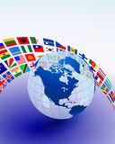 Globe with Many Flag Banner Stock Images