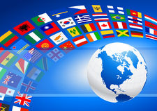 Globe with Many Flag Banner Royalty Free Stock Images