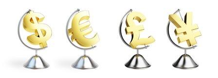 Globe many sign dollar, euro Stock Images