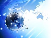 Globe and map. World map (from NASA public domain http://earthobservatory.nasa.gov/GlobalMaps) with glossy earth globe Stock Photos
