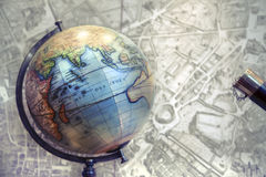 Globe and map royalty free stock photos