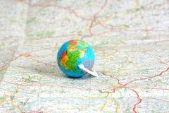 Globe on map royalty free stock photo